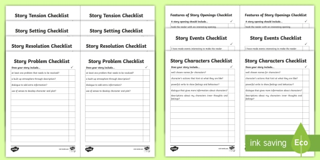 Features of Story Writing Checklist Pack - Features of