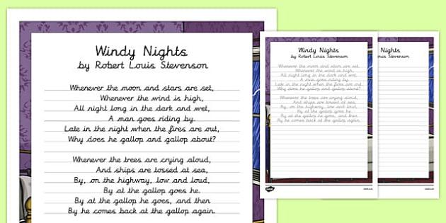 Windy Nights Poem Handwriting Practice