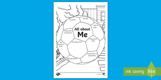 all about me football worksheet    worksheet