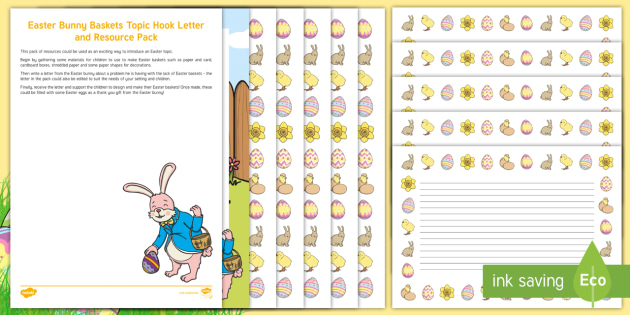 Editable Easter Bunny Baskets Topic Hook Letter Resource Pack