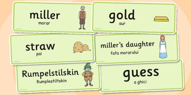 Rumpelstiltskin Word Cards Romanian Translation - romanian, cards