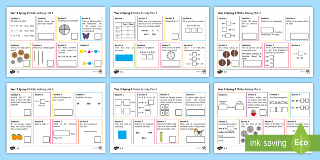 Year 2 Spring 2 Maths Activity Mats - Spring, maths mats, Year 1, add, addition, plus, altogether, sum, greater than, more than, total, fi
