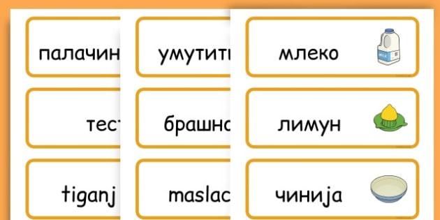 Pancake Day Recipe Word Cards - australia, pancake, day, cards - Serbian