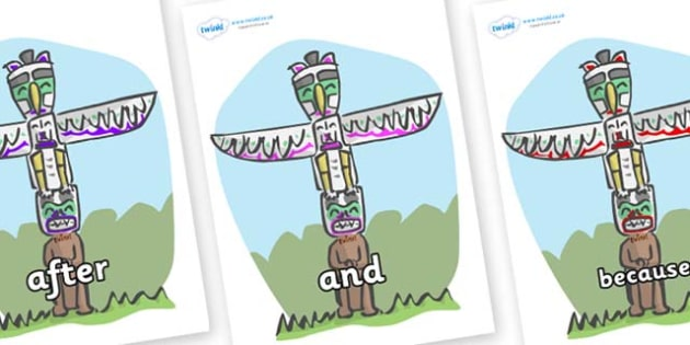 Connectives on Totem Poles - Connectives, VCOP, connective resources, connectives display words, connective displays