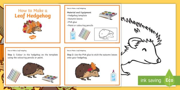Leaf Hedgehog Craft Instructions - autumn, seasons, crafts, art