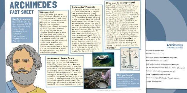 Archimedes Fact Sheet and Comprehension Questions - archimedes