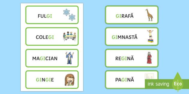 Grupul de litere gi Cartonașe cu cuvinte ilustrate