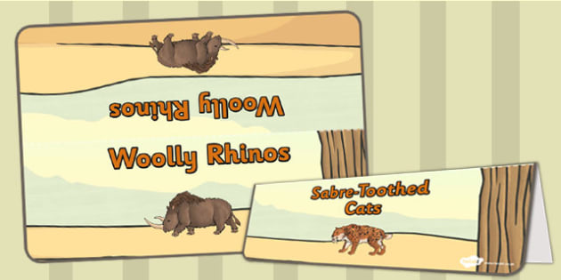 Stone Age Animals Group Table Signs - stone age, signs, labels