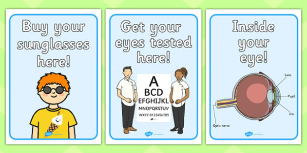Opticians Role Play Display Posters - Opticians, optician, eyes, eye, eye doctor, role play, display, posters, signs, glasses, specs, contact lenses