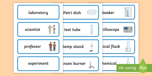 Science Lab Role Play Word Cards - laboratory, scientist, science, word cards, cards, flashcards, role play, play, professor, experiment, bottle, chemistry, chemicals