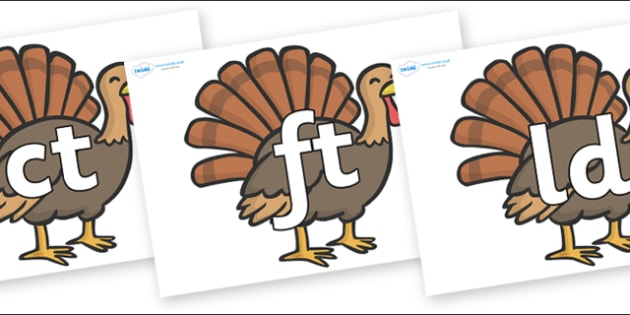 Final Letter Blends on Turkeys - Final Letters, final letter, letter blend, letter blends, consonant, consonants, digraph, trigraph, literacy, alphabet, letters, foundation stage literacy