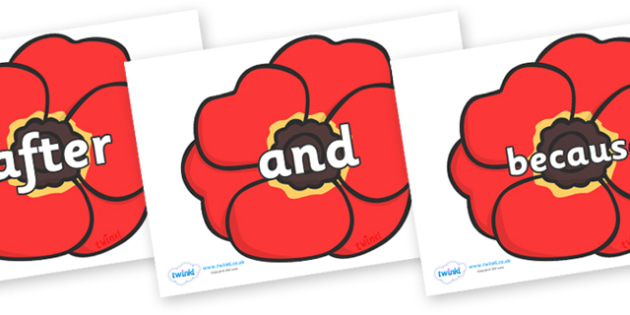 Connectives on Poppies - Connectives, VCOP, connective resources, connectives display words, connective displays