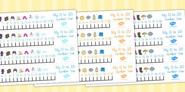 Winter Themed Number Line 0 20 - count, counting aid, counting