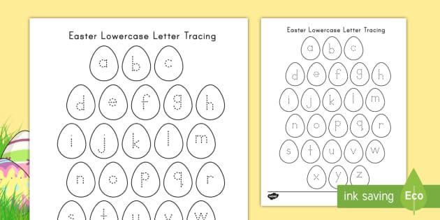 Easter Lowercase Alphabet Tracing Worksheet / Worksheet