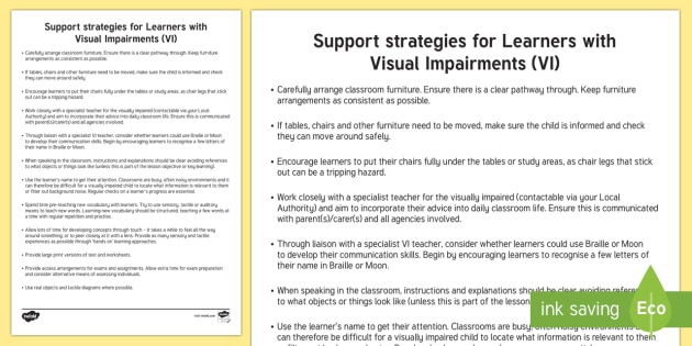 Support Strategies for Learners with Visual Impairments Adult Guidance - Visual Impairment, Sensory Impairment, Vision, VI, Support Strategies, Inclusion, Braille, Moon, Spe