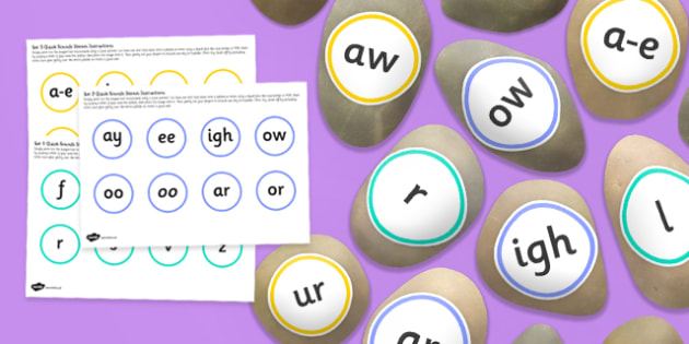 Phonic Quick Sounds Set 1 3 Sensory Stones Cut Outs - early years, independent, english, literacy, speaking and listening, phonics, sounds, feel, kinaesthetic, ks1, key stage 1