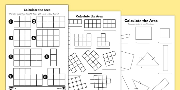 the Area Worksheets - area, worksheet, calculate, work