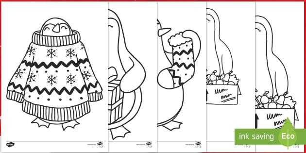 Ausmalbilder Frohe Weihnachten.Weihnachtspinguine Ausmalbilder Weihnachten Weihnachtlich