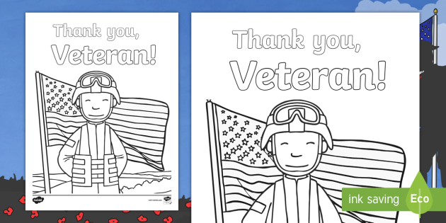 Veterans Day Thank You Coloring Page (teacher Made)