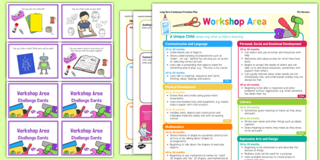 Workshop Area Continuous Provision Plan Poster and Challenge Cards Pack Nursery FS1