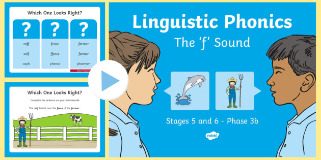 Northern Ireland Linguistic Phonics Stage 5 and 6 Phase 3b, 'f' Sound PowerPoint - Linguistic Phonics, Phase 3b, Northern Ireland, 'f' sound, sound search, word sort, investigatio
