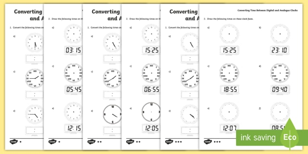 Read, Write and Convert Time between Analogue and Digital Clocks
