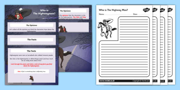 Who is the Highwayman PowerPoint Activity - highwayman, activity