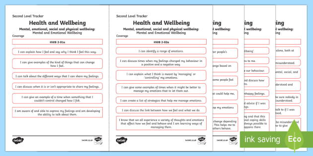 CfE Health and Wellbeing (Mental and Emotional Wellbeing) Second Level Child Friendly Tracking