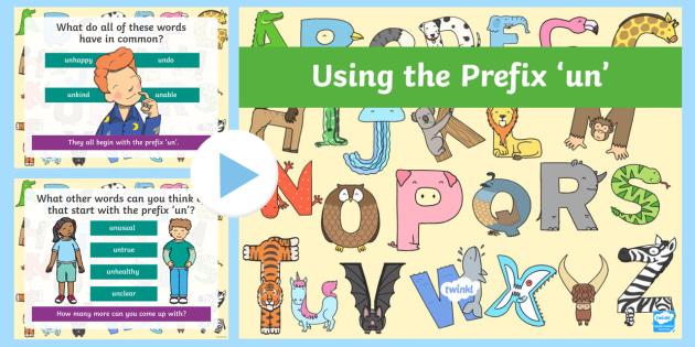 Using the Prefix 'Un' PowerPoint - English Resource - Twinkl