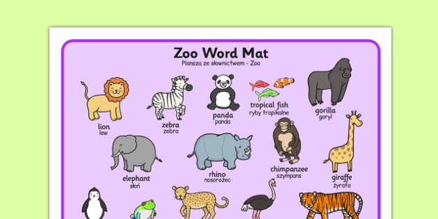 Zoo Word Mat Polish Translation - polish, zoo, word mat, word, mat, animals