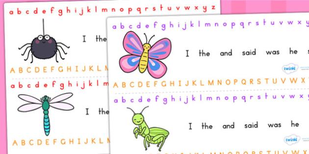 Minibeasts Cute Alphabet Strip - a-z strip, visual aid, writing