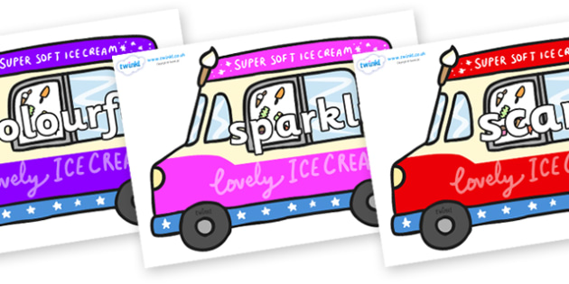Wow Words on Ice Cream Vans - Wow words, adjectives, VCOP, describing, Wow, display, poster, wow display, tasty, scary, ugly, beautiful, colourful sharp, bouncy