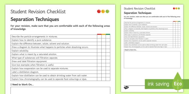 Separation Techniques Student Revision Checklist - Student Progress Sheet (KS3), separation techniques, evaporation, condensation, distillation