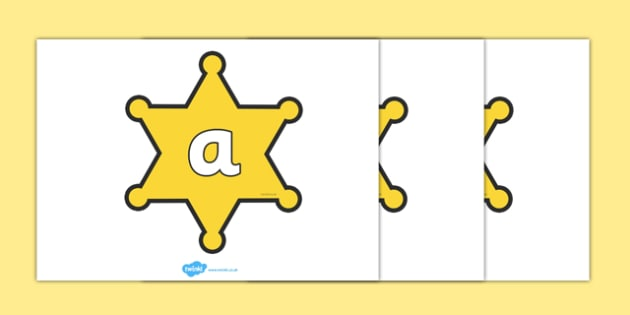 Phoneme Set on Sheriffs Badges - Phoneme set, phonemes, phoneme, Letters and Sounds, DfES, display, Phase 1, Phase 2, Phase 3, Phase 5, Foundation, Literacy