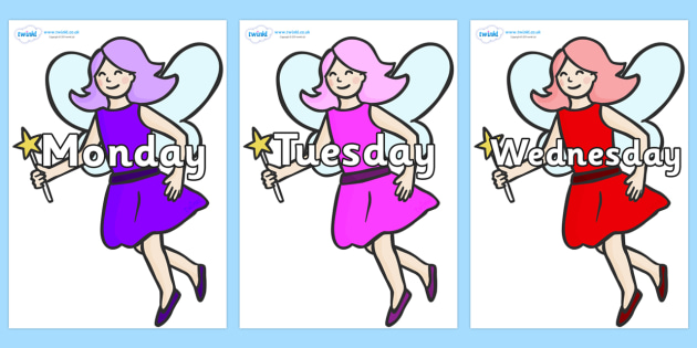 Days of the Week on Fairies - Days of the Week, Weeks poster, week, display, poster, frieze, Days, Day, Monday, Tuesday, Wednesday, Thursday, Friday, Saturday, Sunday