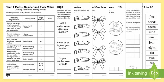 Year 1 Maths Place Value and Number Learning From Home Activity Booklet