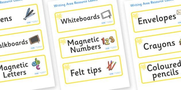 Yellow Themed Editable Writing Area Resource Labels - Themed writing resource labels, literacy area labels, writing area resources, Label template, Resource Label, Name Labels, Editable Labels, Drawer Labels, KS1 Labels, Foundation Labels, Foundation