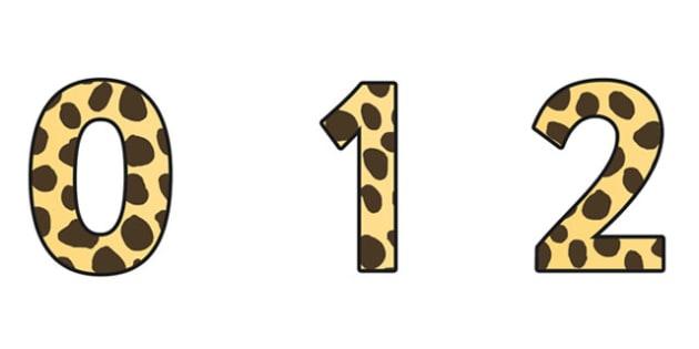 Cheetah Pattern Display Numbers (Small) - safari, safari numbers, safari display numbers, cheetah display numbers, cheetah pattern display numbers