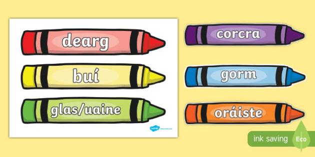 Colour Words on Crayons Gaeilge - gaeilge, colour words, colour, words, crayons