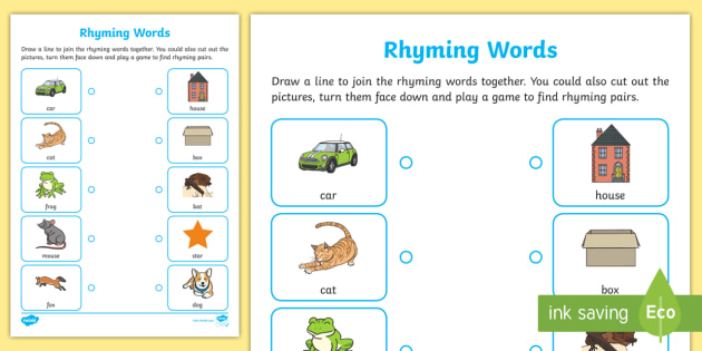 Rhyming Words Home Learning Worksheet / Worksheet - EYFS ...
