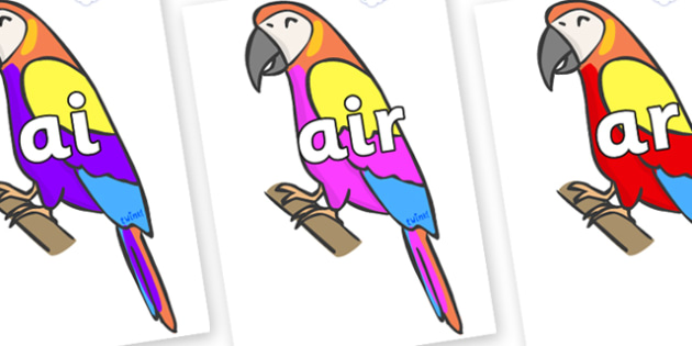 Phase 3 Phonemes on Macaws - Phonemes, phoneme, Phase 3, Phase three, Foundation, Literacy, Letters and Sounds, DfES, display