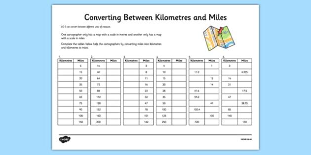 Converting Between Miles And Kilometres Worksheet Activity