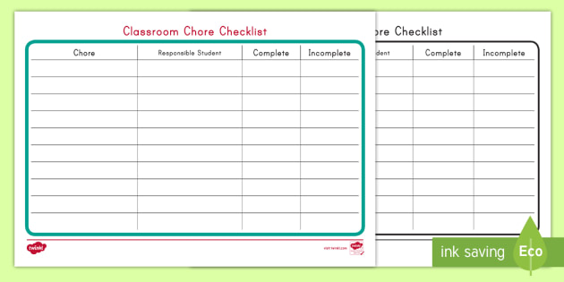 Classroom Chore Checklist
