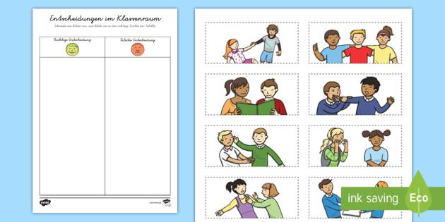 Entscheidungen im Klassenzimmer Arbeitsblatt - Verhalten