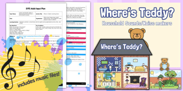 Where's Teddy? Listening Game EYFS Adult Input Plan and Resource Pack