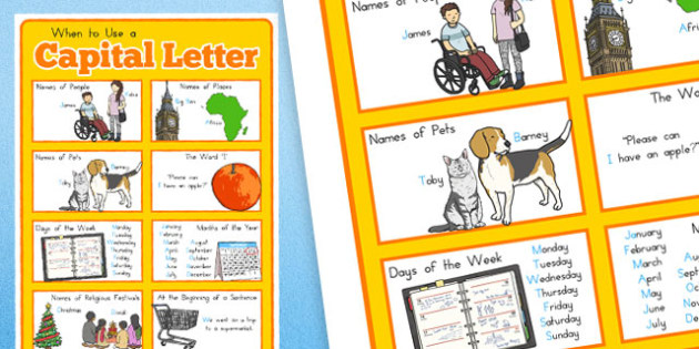 Large When to Use a Capital Letter Poster - captial letters