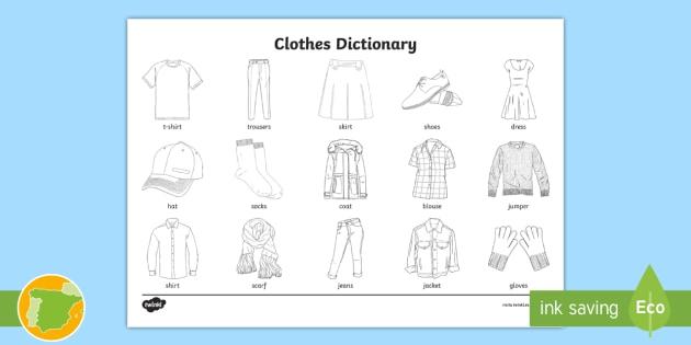 A1 Diccionario Para Colorear Ropa Inglés Clothes
