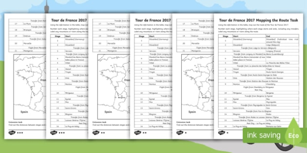 Map Of France Ks2.Ks2 Tour De France Route Planning Differentiated Activity Cycling