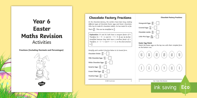 Year 6 Easter Maths Revision: Fractions (Including Decimals and ...