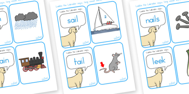 Laddy The Labrador Long Vowel Matching Cards - vowels, long vowel